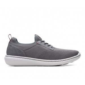 Men's Clarks Step Urban Low Sneakers Grey Textile Going Out Clearance P1C03712