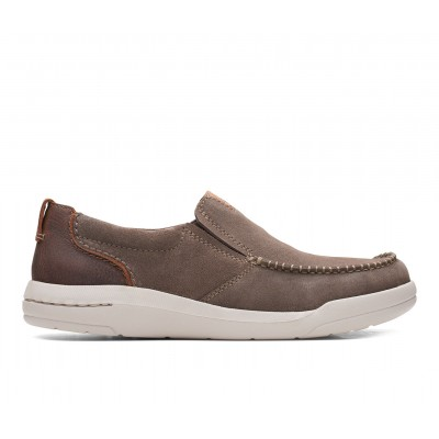 Men's Clarks Driftway Step Slip-On Shoes Taupe Suede Formal The Best Brand 9G0TR9440