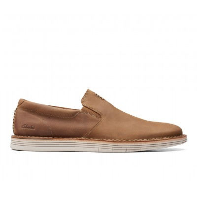 Men's Clarks Forge Free Slip-On Shoes Tan Leather most comfortable G20WQ4565