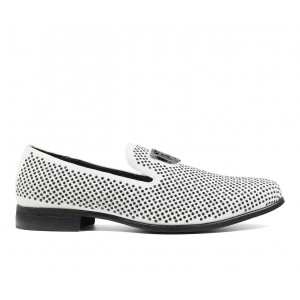 Men's Stacy Adams Swagger Loafers White/Black Business Casual Discount 4CGMR561
