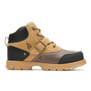 Men's US Polo Assn Kedge Lace-Up Boots Wheat/Brown Going Out new in MAN4O1547