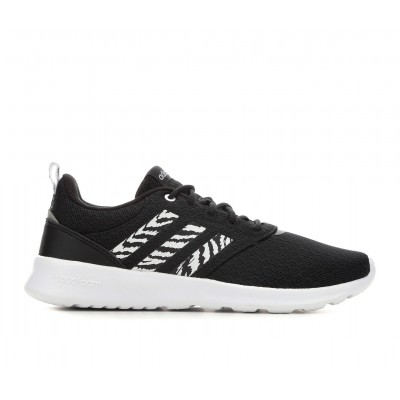 Women's Adidas QT Racer 2.0 Running Shoes Blk/Wht/Zebra Business Casual On Sale GRWWI2614