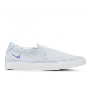 Women's Nike Court Legacy Slip-On Sneakers Lt Blue/White Business Casual Latest Fashion AOJQ24243