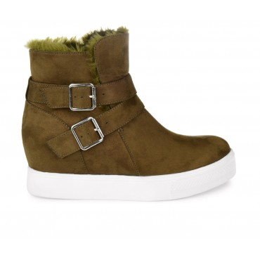 Women's Journee Collection Angelique Wedge Sneaker Boots Olive Business Casual 2021 New IVEWY197