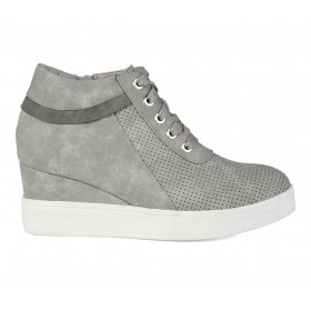 Women's Journee Collection Ayse Wedge Sneakers Grey For Sale MGYYL8317