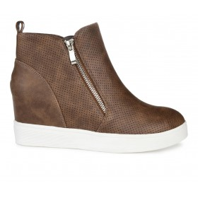 Women's Journee Collection Pennelope Wedge Sneakers Brown 8PMTB5665