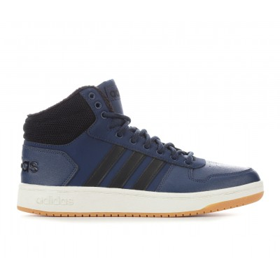 Men's Adidas Hoops 2.0 Mid-Top Winter Sneakers Navy/Black/Gum Business Casual Clearance Sale DYX6L6115