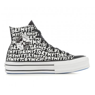 Women's Converse Chuck Taylor All Star My Story Double Stack Lift Platform Sneakers Black/Wht/Blue Formal Lowest Price 8JR3K5979