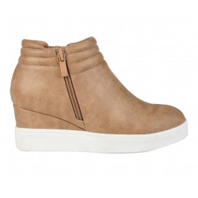 Women's Journee Collection Remmy Wedge Sneakers Tan Ships Free HNXA83892