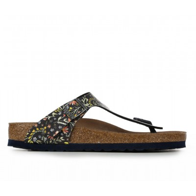 Women's Birkenstock Gizeh Leather Footbed Sandals WC Flower Navy Business Casual New Look CN5672484