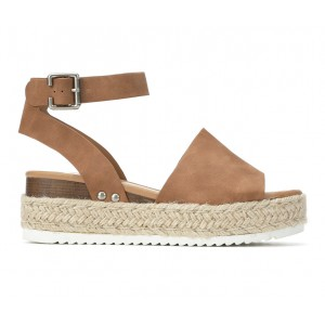 Women's Soda Topic Flatform Sandals Tan Going Out in style 0JZZA2701