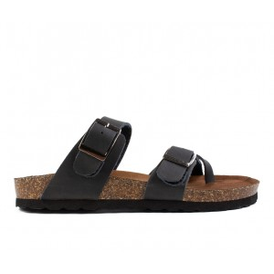 Women's White Mountain Gracie Footbed Sandals Black/Lea Going Out on sale online H25X15090