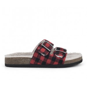 Women's White Mountain Helga Footbed Sandals Red/Black/Fab Formal QIMMY8271