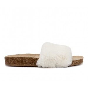 Women's Sugar Bravoes Fuzzy Footbed Sandals Ivory Formal Cut Off X6P1V3680