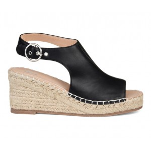 Women's Journee Collection Crew Espadrille Wedges Black Going Out 7EWW3887