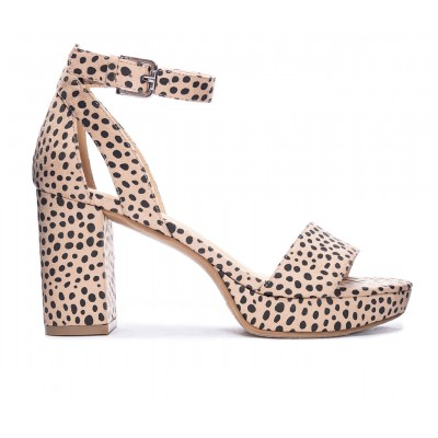 Women's CL By Laundry Go On Platform Dress Sandals Beige Cheetah Going Out 7FUG84276