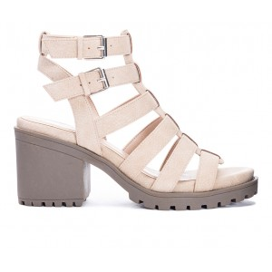 Women's Dirty Laundry Fun Stuff Heeled Sandals Natural Formal Clearance Sale IVLWN8425