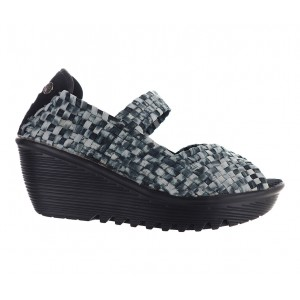 Women's Bernie Mev Halle Slip-On Plaform Wedges Black Camo Going Out Cost ULJDF8705
