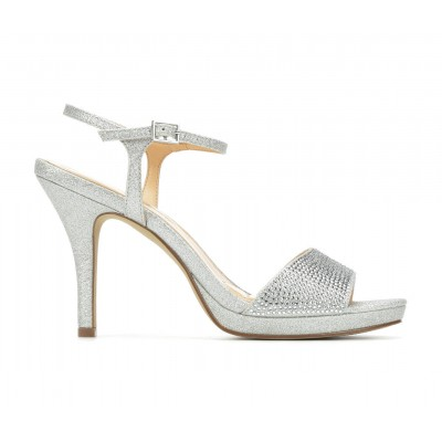 Women's American Glamour BadgleyM Yasmin Special Occasion Shoes Silver Going Out LD7QB3685