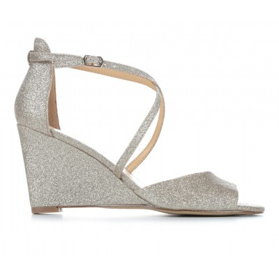 Women's American Glamour BadgleyM Quinlan Special Occasion Shoes Lt Gold Glitter sale online JZ8AN4185
