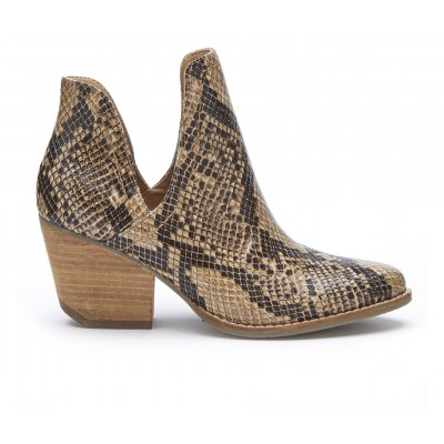Women's Coconuts Trader Side Slit Booties Brown Snake Going Out Casual RCFG82150