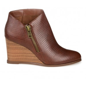 Women's Journee Collection Glam Wedge Booties Brown Business Casual e fashion 8VP6Q8754