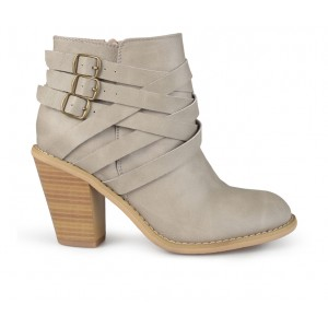 Women's Journee Collection Strap Booties Stone 95AN17072