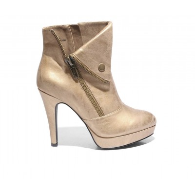 Women's 2 LIPS TOO Too Scam Stiletto Booties Chamapgne Going Out Lowest Price WLNN83926