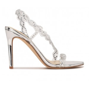 Women's Nine West Ilusion Dress Sandals Clear/Silver Going Out hot topic EZ65T7678