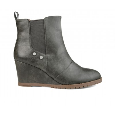 Women's Journee Collection Jessie Wedge Booties Grey Formal Clearance SIGQ57248