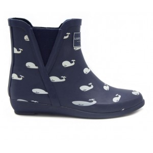 Women's London Fog Piccadilly Chelsea Rain Boots Navy Whales Going Out CBC1E9780