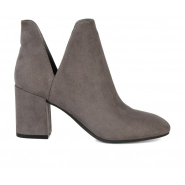 Women's Journee Collection Gwenn Side Slit Booties Grey Formal Lowest Price 18N0I4309