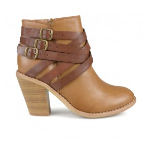 Women's Journee Collection Strap Booties Tan Going Out Popular LC7MT4652