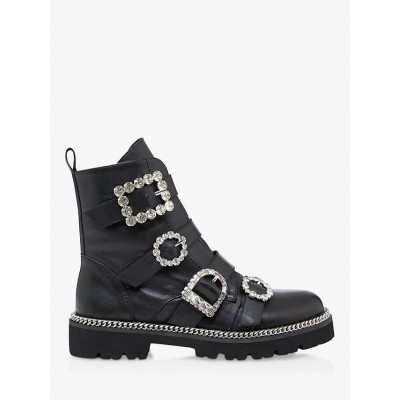 Dune Pagola Leather Embellished Buckle Biker Boots Black Women Going Out C8UQ75545