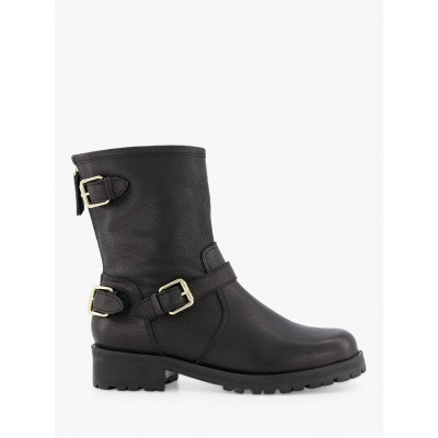 Dune Panthers Leather Buckle Detail Calf Biker Boots Black Womens CRFCK1908