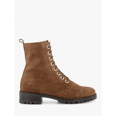 Dune Prestone Suede Cleated Sole Lace-Up Biker Boots Taupe Womens Business Casual ITYVK9310