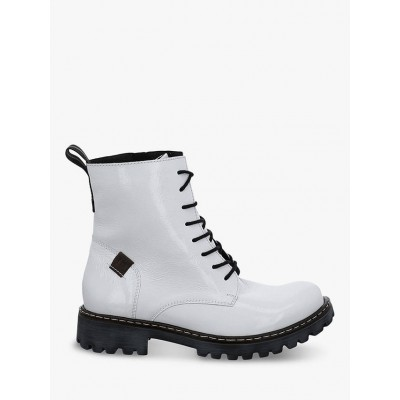 Josef Seibel Marta 02 Patent Military Boots White Womens Going Out Z326G7342