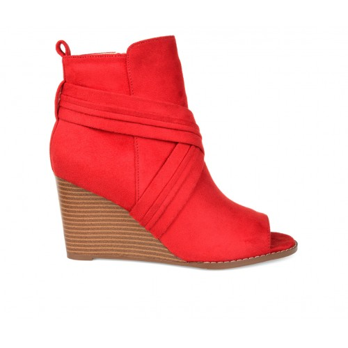 Women's Journee Collection Sabeena Wedge Peep Toe Booties Red Business Casual Fit SYUUJ1512