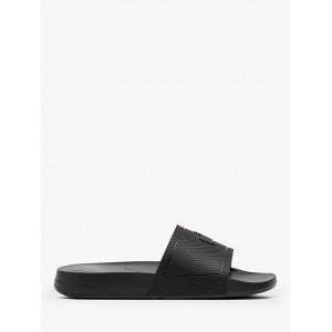 FitFlop iQushion Logo Pool Slides Black for Women Going Out 06H0K9259