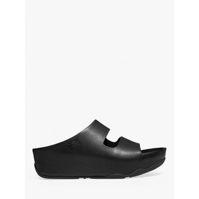 FitFlop Shuv Two Bar Leather Sliders Black Womens Business Casual X73YO5486
