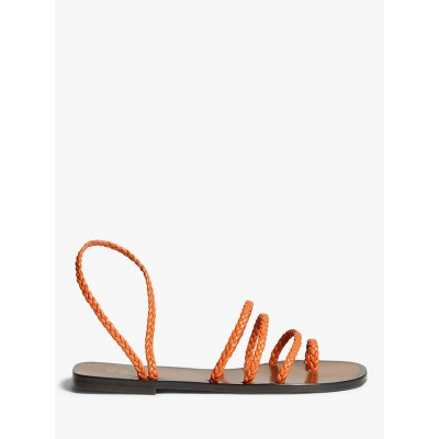 AND/OR Lawna Plaited Woven Strappy Flat Sandals Orange for Women Business Casual 5UR433231