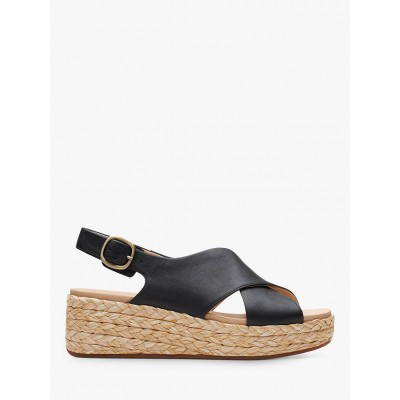 Clarks Kimmei Cross Leather Wedge Sandals Black Womens Business Casual BVW053867