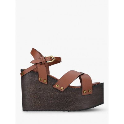FRAME Le Melrose Leather Wedge Sandals Tobacco Women Business Casual HU39H7815