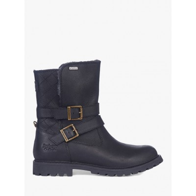 Barbour Sycamore Leather Mid Length Boots Black for Women JG0289879