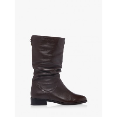 Dune Rosalindas Leather Calf Boots Brown for Women Business Casual C4WNU5572