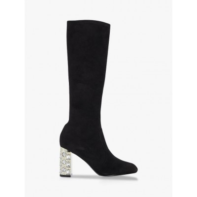 Dune Stargazing Suede Embellished Knee High Boots Black Womens 2P7769264