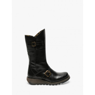 Fly London Mes 2 Leather Buckle Calf Boots Black for Women 3VJ7W7661