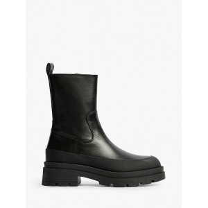 Reiss Ave Leather Stomper Boots Black Womens Going Out KIU6L1248