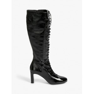 Ted Baker Theya Crinkled Patent Lace Up Calf Length Boots Black for Women Business Casual S0UTP4708