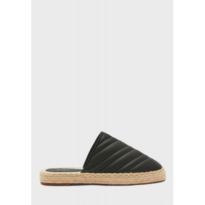Ginger Girl's black Quilted Round Toe Open Back Espadrille 4ZXYU4004